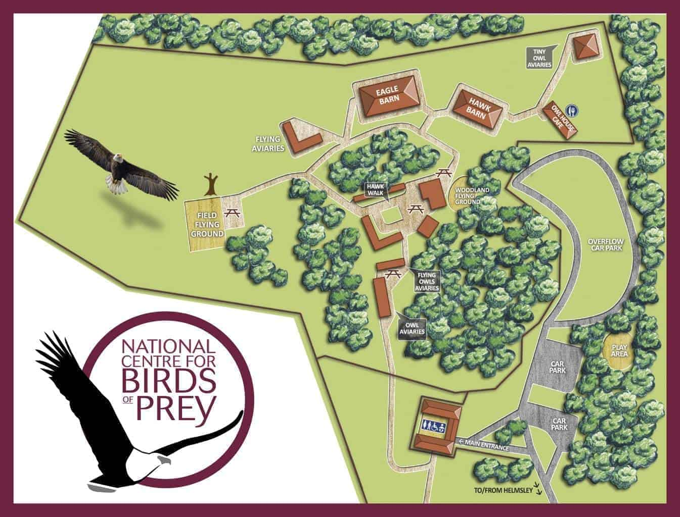 Map of National Centre for Birds of Prey, Duncombe Park, Helmsley UK