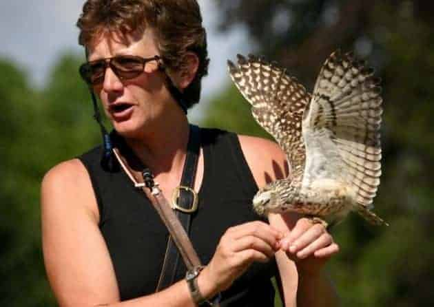Jemima Parry Jones at the National Centre for Birds of Prey, Duncombe Park, Helmsley UK
