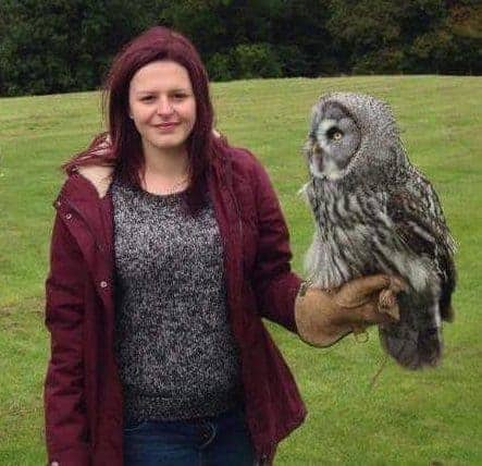 Laura Ruston at the National Centre for Birds of Prey, Duncombe Park, Helmsley UK